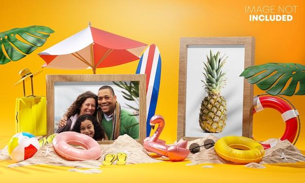 Maquete de duas fotos, acessórios de praia de verão, renderização em 3d