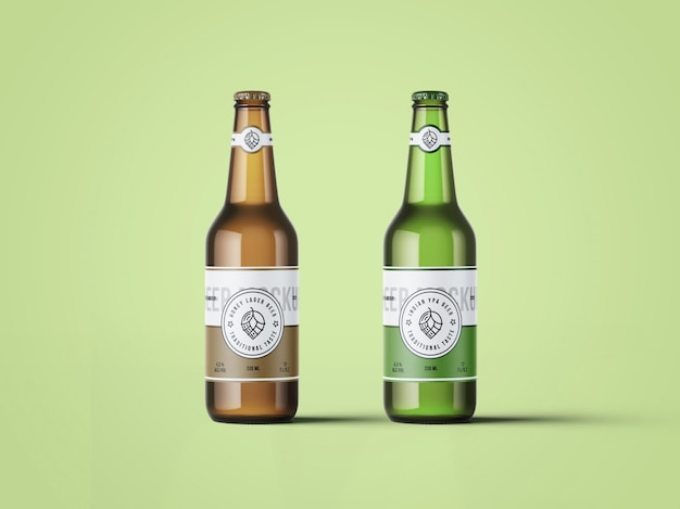 Maquete de duas garrafas de cerveja
