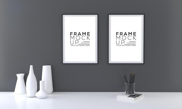 Maquete de duas molduras com vasos em parede escura renderização 3d