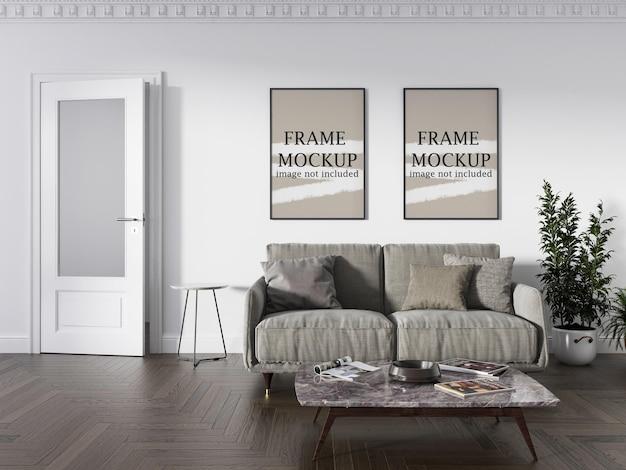 Maquete de duas molduras de parede na parede branca