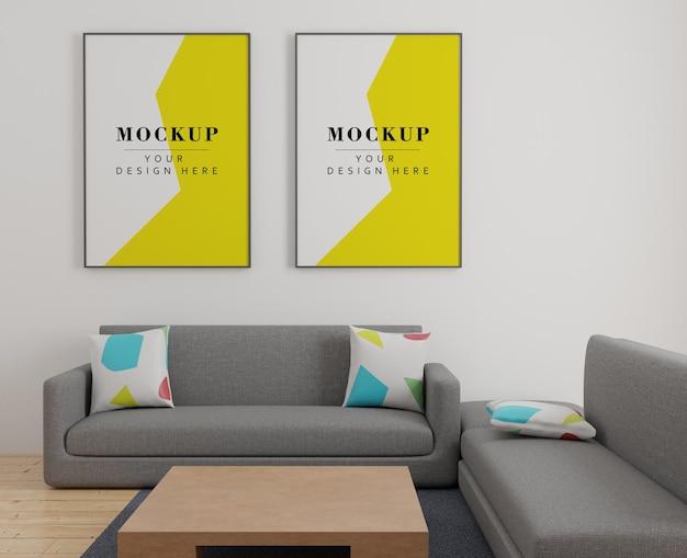 Maquete de duas molduras na sala de estar