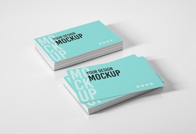 Maquete de duas pilhas de cartões de visita