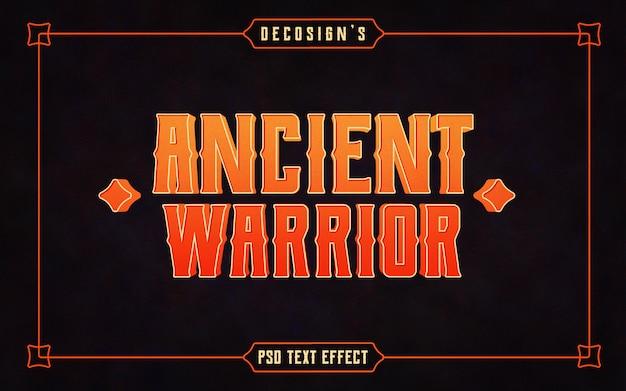 Maquete de efeito antigo texto vintage guerreiro