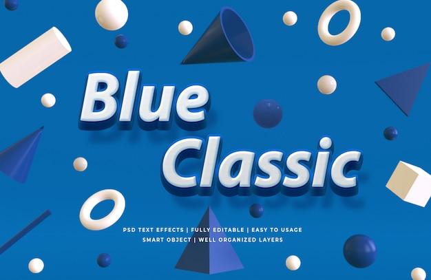 Maquete de efeito de estilo de texto 3d azul clássico
