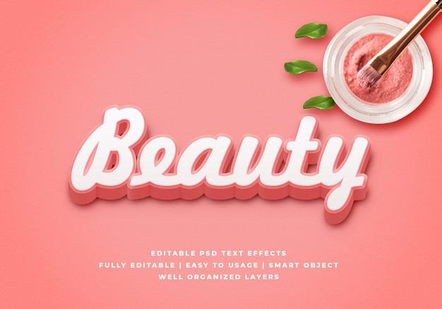 Maquete de efeito de estilo de texto 3d beleza