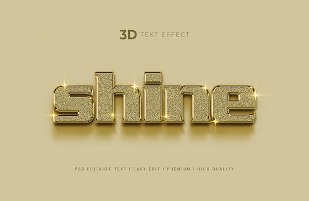 Maquete de efeito de estilo de texto 3d brilho