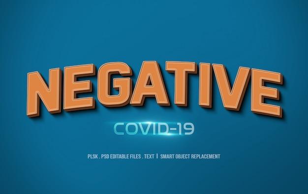 Maquete de efeito de estilo de texto 3d covid-19 negativo