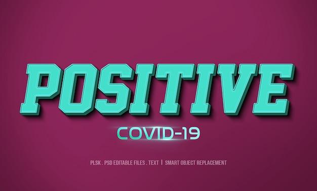 Maquete de efeito de estilo de texto 3d covid-19 positivo