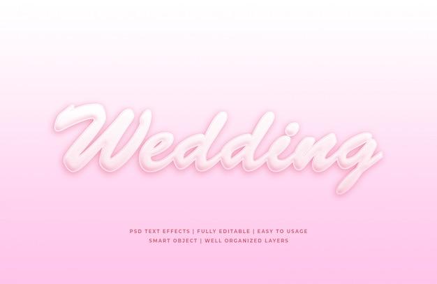 Maquete de efeito de estilo de texto 3d de casamento