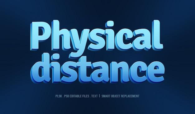 Maquete de efeito de estilo de texto 3d de distância física