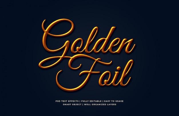 Maquete de efeito de estilo de texto 3d de folha dourada