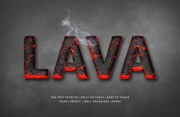 Maquete de efeito de estilo de texto 3d de lava