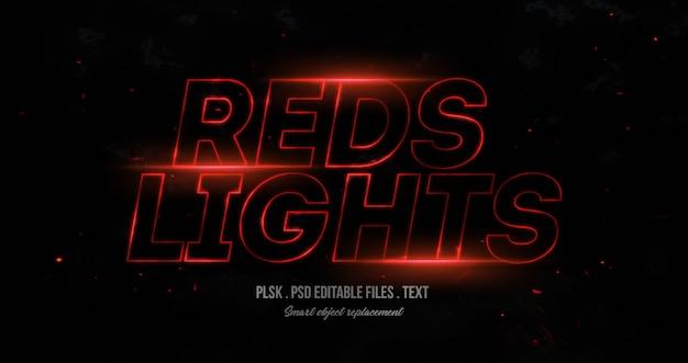 Maquete de efeito de estilo de texto 3d de luzes vermelhas