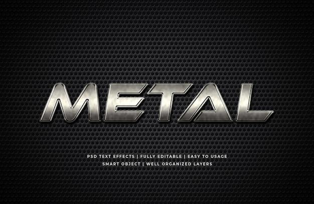 Maquete de efeito de estilo de texto 3d de metal