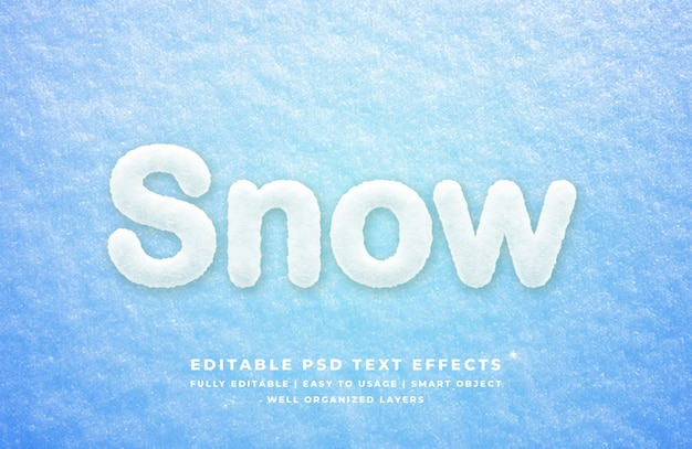 Maquete de efeito de estilo de texto 3d de neve