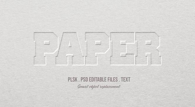 Maquete de efeito de estilo de texto 3d de papel