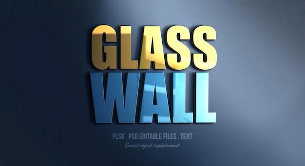 Maquete de efeito de estilo de texto 3d de parede de vidro