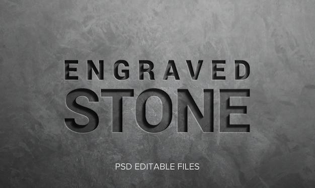 Maquete de efeito de estilo de texto 3d de pedra gravada