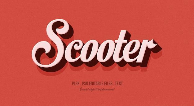 Maquete de efeito de estilo de texto 3d de scooter
