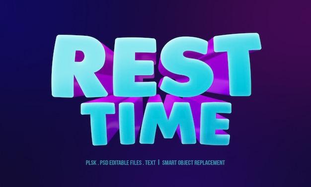 Maquete de efeito de estilo de texto 3d de tempo de descanso