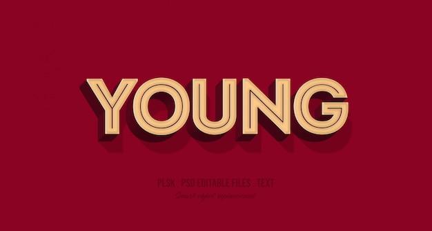Maquete de efeito de estilo de texto 3d jovem
