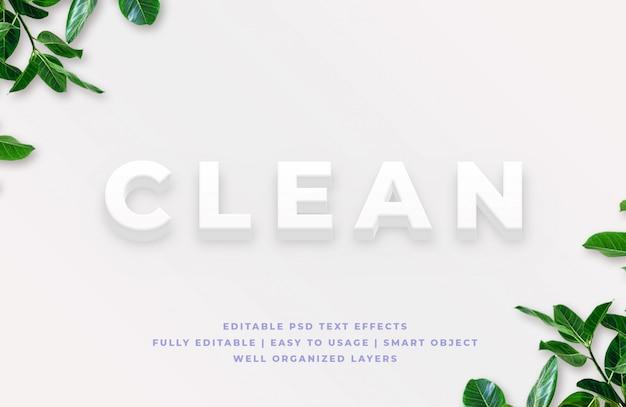 Maquete de efeito de estilo de texto 3d limpo
