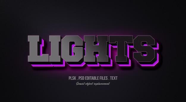 Maquete de efeito de estilo de texto 3d luzes