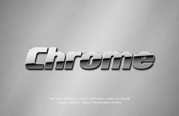 Maquete de efeito de estilo de texto 3d metálico cromado