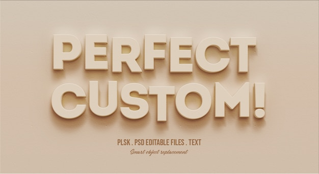 Maquete de efeito de estilo de texto 3d personalizado perfeito