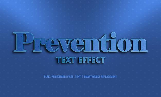 Maquete de efeito de estilo de texto 3d prevenção