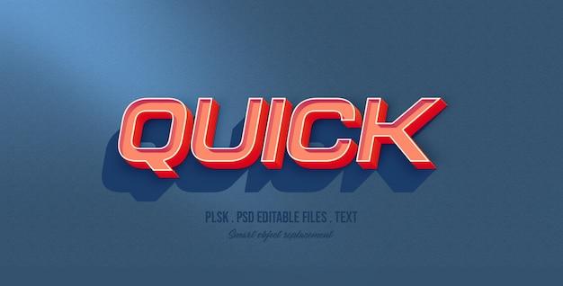Maquete de efeito de estilo de texto 3d rápido
