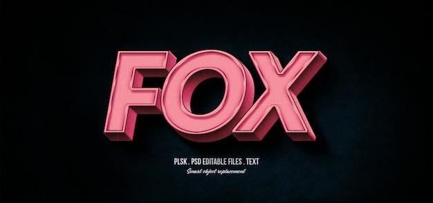 Maquete de efeito de estilo de texto 3d raposa