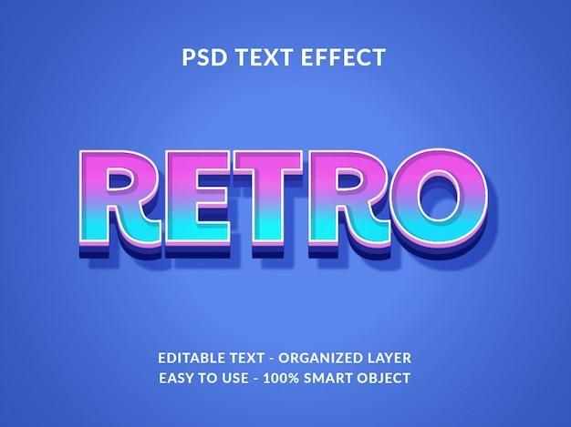 Maquete de efeito de estilo de texto 3d retrô com estilo de cor gradiente