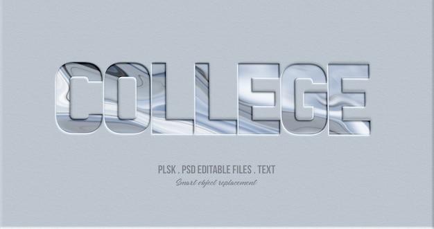 Maquete de efeito de estilo de texto de faculdade 3d