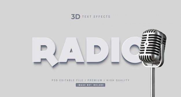 Maquete de efeito de estilo de texto de rádio 3d