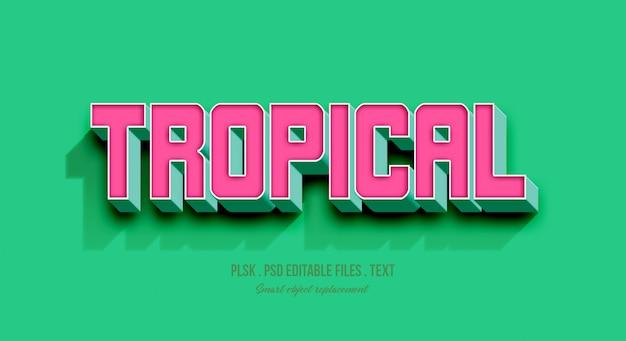 Maquete de efeito de estilo de texto tropical 3d
