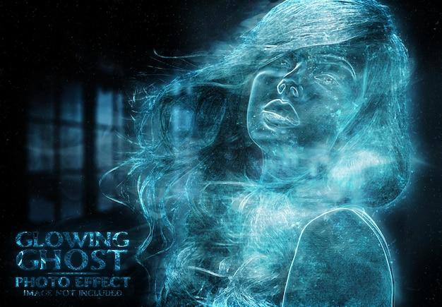 Maquete de efeito de foto de fantasma brilhante
