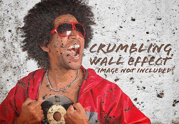 Maquete de efeito de foto de parede antigo do grunge