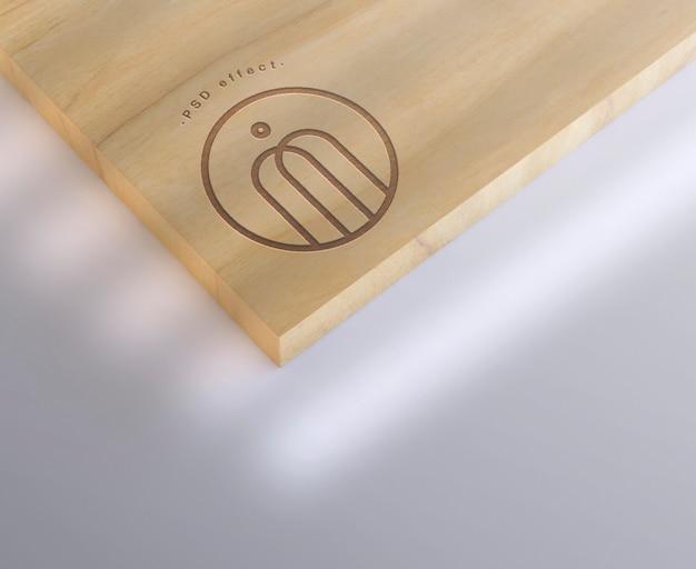 Maquete de efeito de marca de madeira gravada