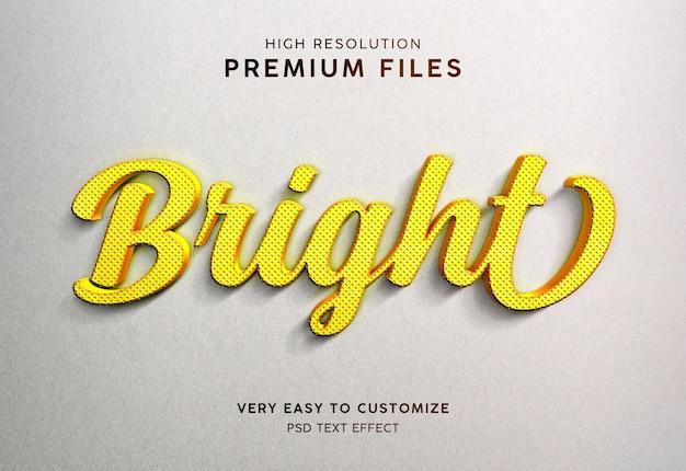 Maquete de efeito de texto 3d amarelo brilhante ouro tira laranja