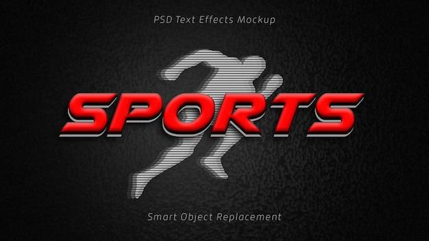 Maquete de efeito de texto 3d de esportes