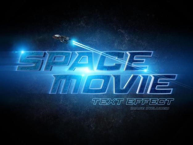 Maquete de efeito de texto 3d de estilo de filme de ficção científica