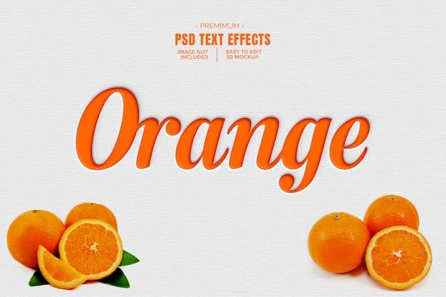 Maquete de efeito de texto 3d laranja