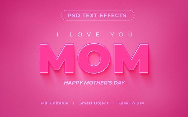 Maquete de efeito de texto 3d mãe