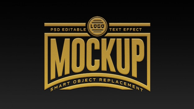 Maquete de efeito de texto 3d preto e dourado premium