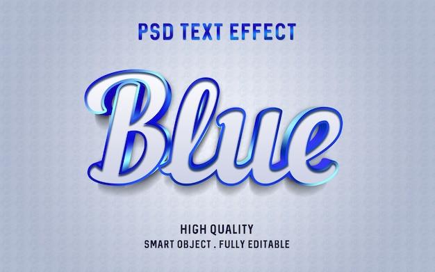 Maquete de efeito de texto azul metal