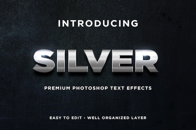 Maquete de efeito de texto brilhante prata 3d premium psd