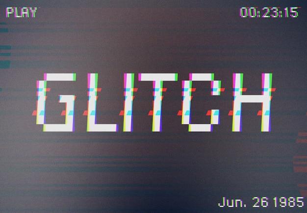 Maquete de efeito de texto com falha na filmadora