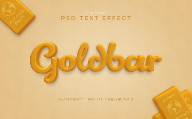 Maquete de efeito de texto de barra de ouro