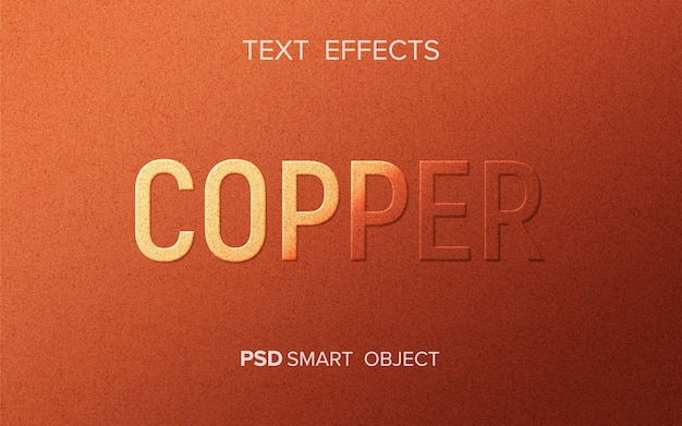 Maquete de efeito de texto de cobre